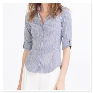 Zara Basic Fitted Striped Button down shirt